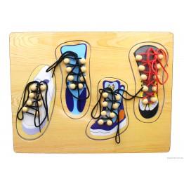 """Пазл-шнуровка """"Обувь"""" (4 ботинка)"""